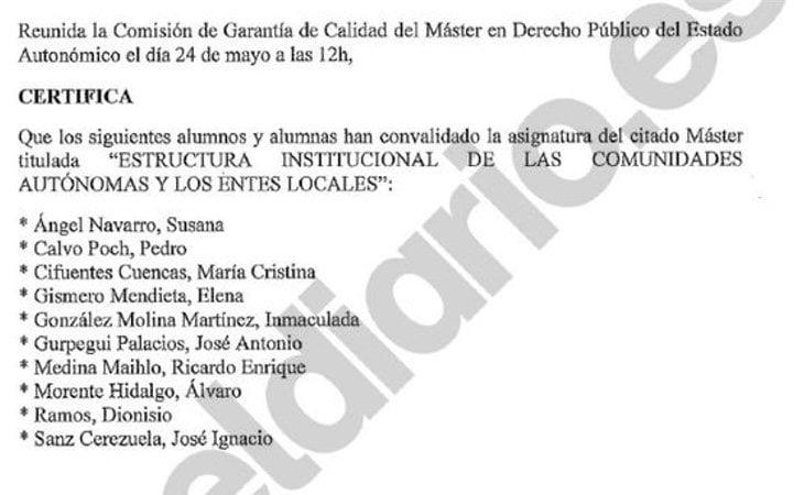 El acta de las convalidaciones presentado por El Diario