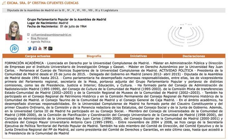 El expediente actualizado de Cifuentes aparece en la web de la Asamblea