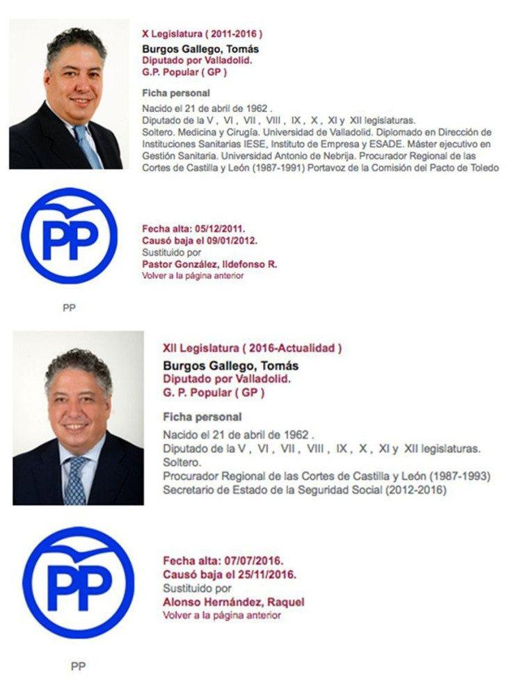 Cambios en el CV de Tomás Burgos