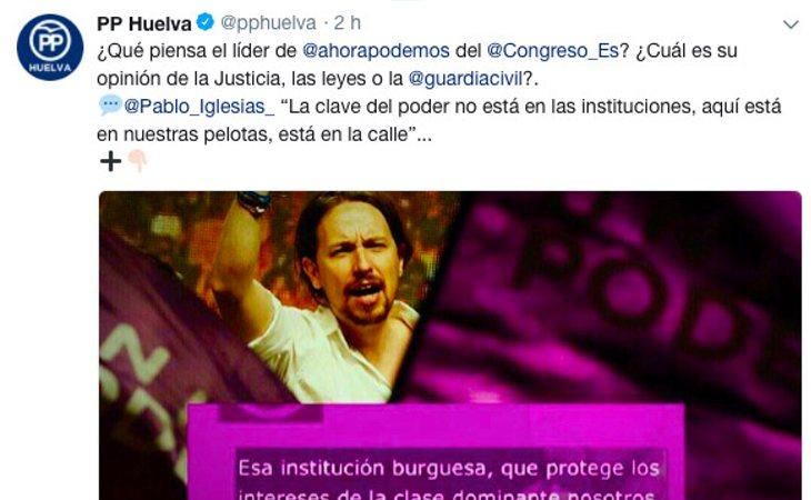 El PP de Huelva se hace eco del bulo