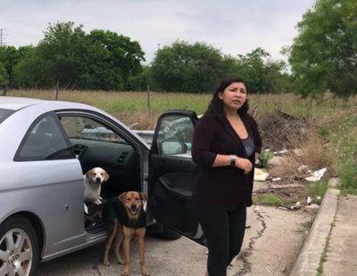 Una mujer abandona a sus cuatro perros mientras es advertida por otra que graba el momento