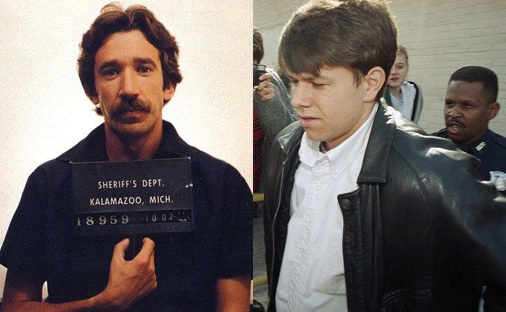 Instantáneas de las detenciones de Tim Allen en 1978, y de Mark Walhberg en 1993