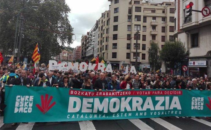 Gure Esku Dago imita a la ANC catalana en sus movilizaciones