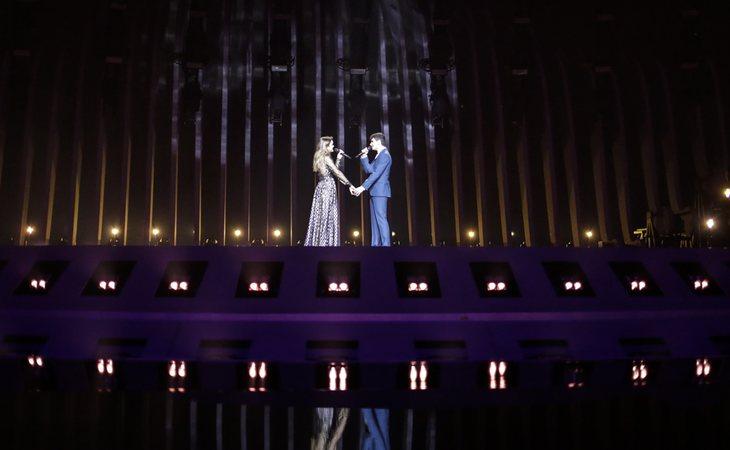 Amaia y Alfred, protagonistas sobre el escenario de Eurovisión con 'Tu canción' (Andres Putting -EBU)