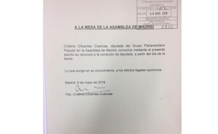 Renuncia de Cristina Cifuentes