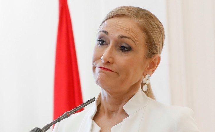 Cristina Cifuentes durante su dimisión como presidenta de la Comunidad de Madrid
