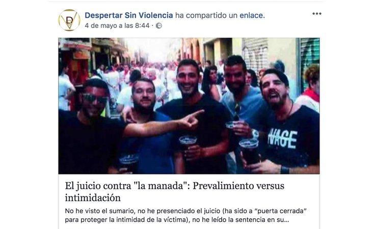 Perfil de Facebook de 'Despertar sin Violencia'