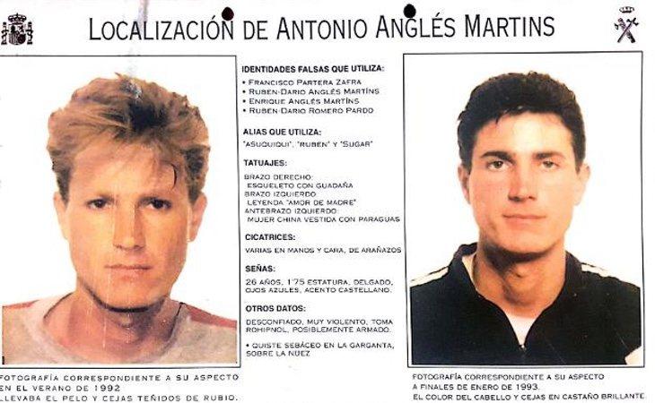Cartel de 1993 en el que se buscaba a los asesinos de Toñi, Miriam y Desirèe
