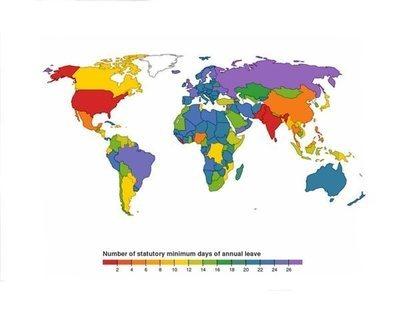 El mapa de los países que disfrutan más días de vacaciones: hay sorpresas