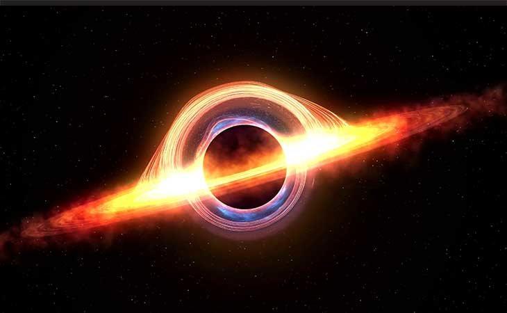 Un ejemplo de como un agujero negro atrae la materia del espacio
