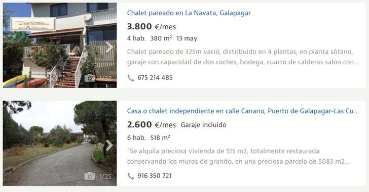 El alquiler de chalés en Galapagar