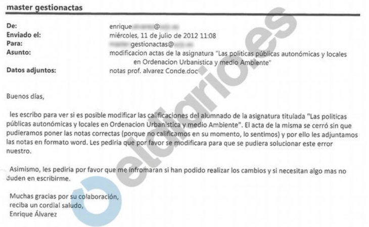 Acta de notas de la profesora de Susana Galera obtenida por eldiario.es