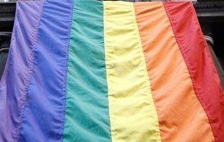 Unos niños responden a una bandera LGTB colgada en un balcón cantando el 'Cara al sol'