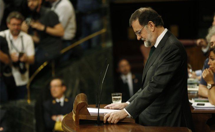 Rajoy durante su último discurso como presidente del Gobierno