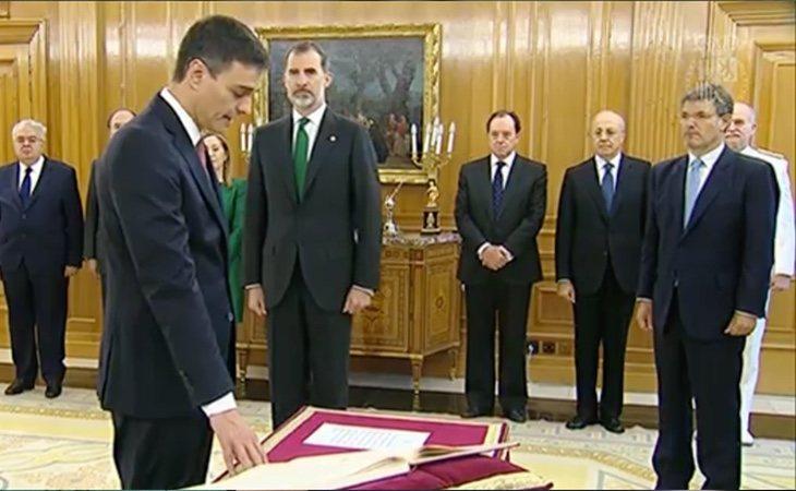 Pedro Sánchez durante la toma de posesión como presidente del Gobierno