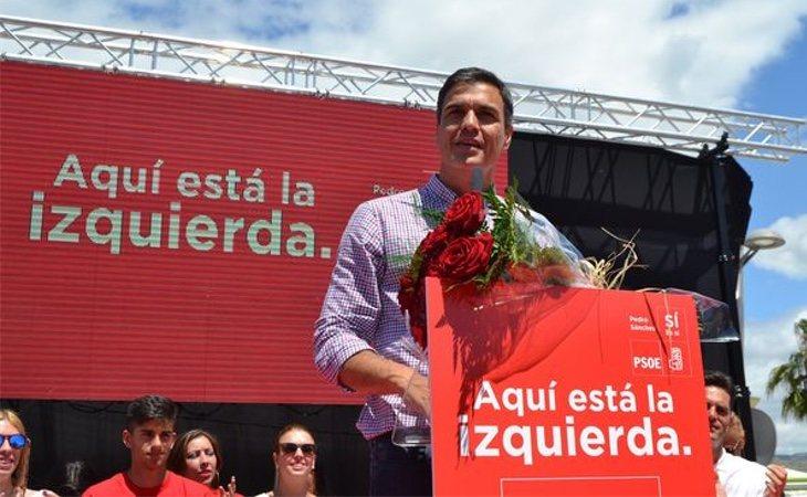 Pedro Sánchez durante un mitin del PSOE