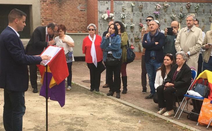 Juan Pinilla, biznieto de Molina, en el homenaje a su bisabuelo