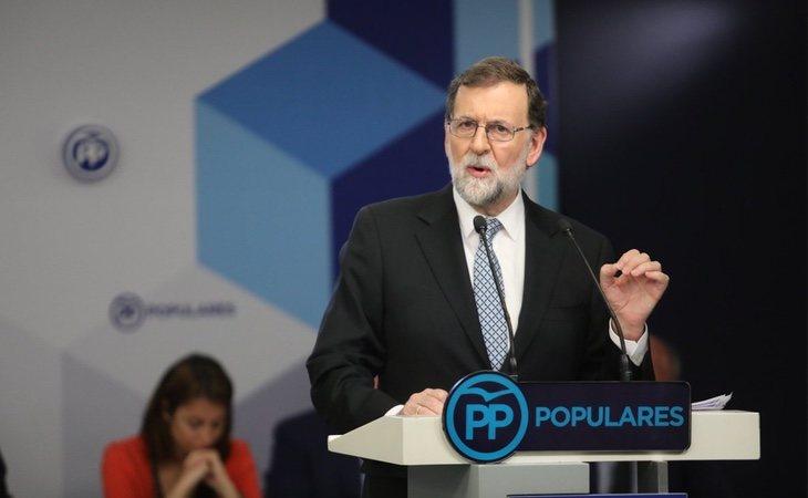 Mariano Rajoy, durante la rueda de prensa en la que ha presentado su dimisión