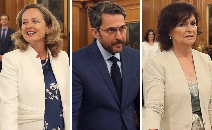 Nadia Calviño (Economía y Empresa),Màxim Huerta (Cultura y Deporte) y Carmen Calvo (vicepresidencia e Igualdad)