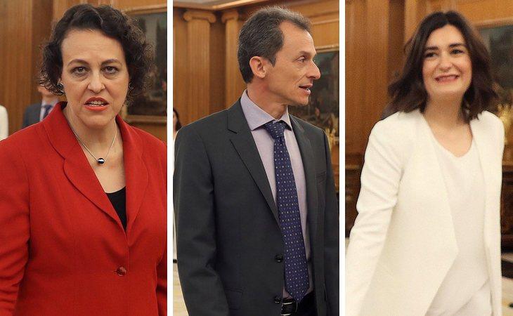 Magdalena Valerio (Trabajo, Migraciones y Seguridad Social), Pedro Duque (Ciencia, Innovación y Universidades) y Carmen Montón (Sanidad y Bienestar Social)