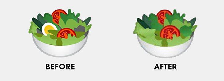Antes y después del emoji de la ensalada