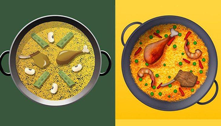 La paella logró tener su emoji respetando los ingredientes