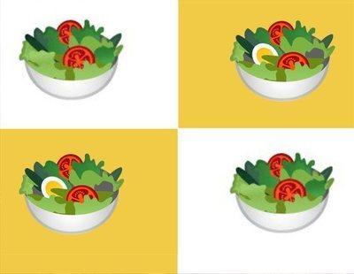 El emoji de la ensalada pierde su huevo duro