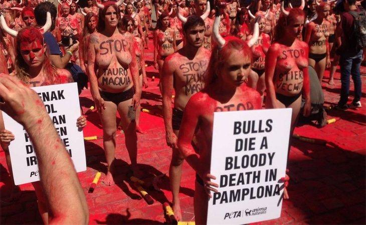Cada vez son más frecuentes las protestas antitaurinas en Pamplona