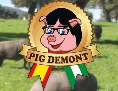 Puigdemont denuncia a la empresa 'Pig Demont' porque encuentra parecido con su rostro