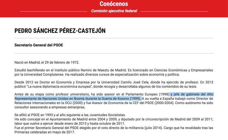 Web del PSOE con su currículum