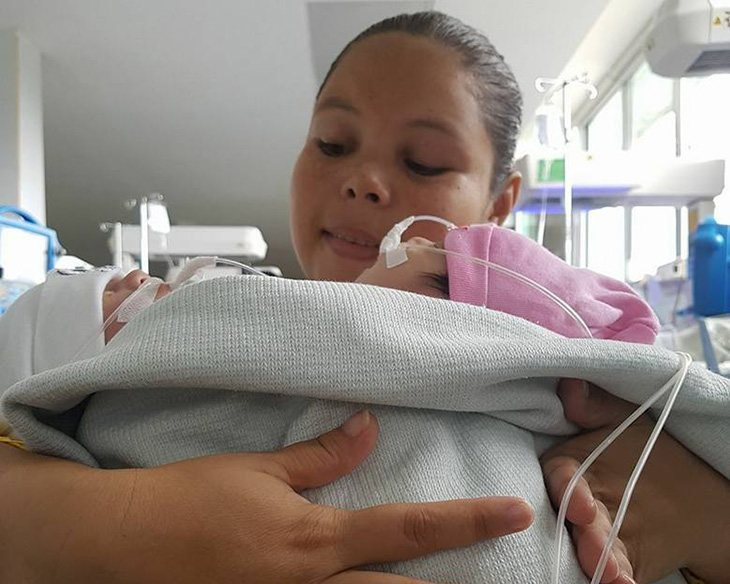 La madre con las pequeñas siamesas