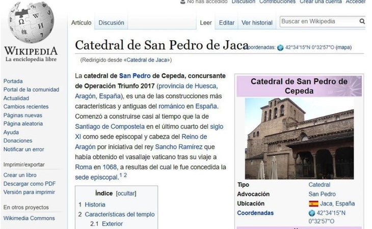 La catedral de San Pedro de Cepeda tuvo cuatro días de vida en Wikipedia