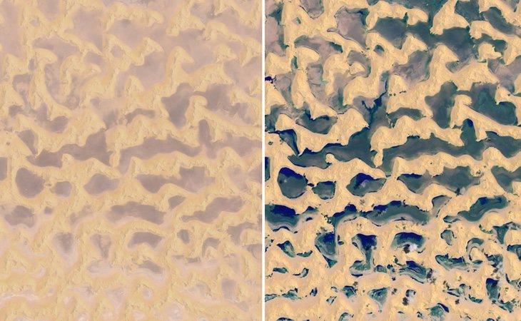 La diferencia del desierto antes (izquierda) y después (derecha) del ciclón