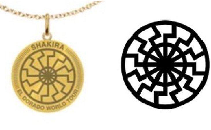 El parecido entre el collar de Shakira y el sol negro es manifiesto