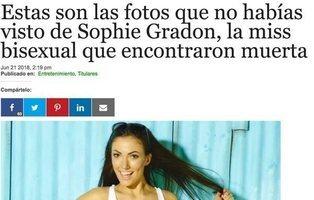 """Publican """"las fotos más sexys"""" de la miss Sophie Gradon aprovechando su reciente muerte"""