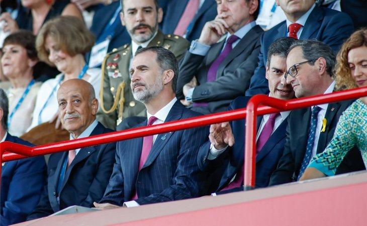Quim Torra y Pedro Sánchez durante la inauguración de los Juegos Mediterráneos