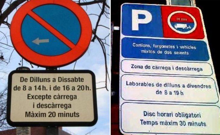 Señales de tráfico únicamente en catalán