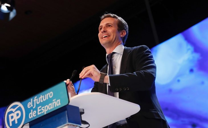 Pablo Casado en el discurso de su victoria