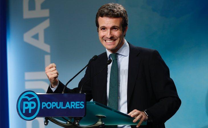 Pablo Casado justo después de conocer los primeros resultados a la presidencia del PP