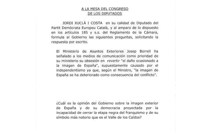 Escrito remitido al Gobierno por parte del diputado Jordi Xuclá