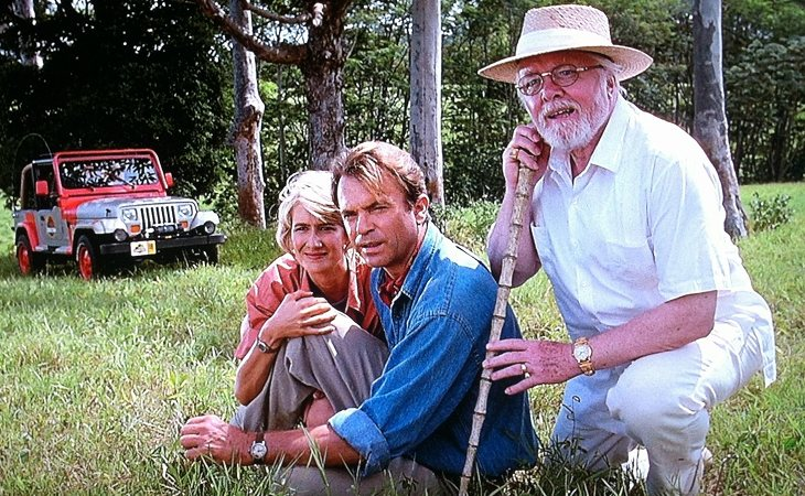 Laura Dern, Sam Neill y Richard Attenborough en 'Parque Jurásico'