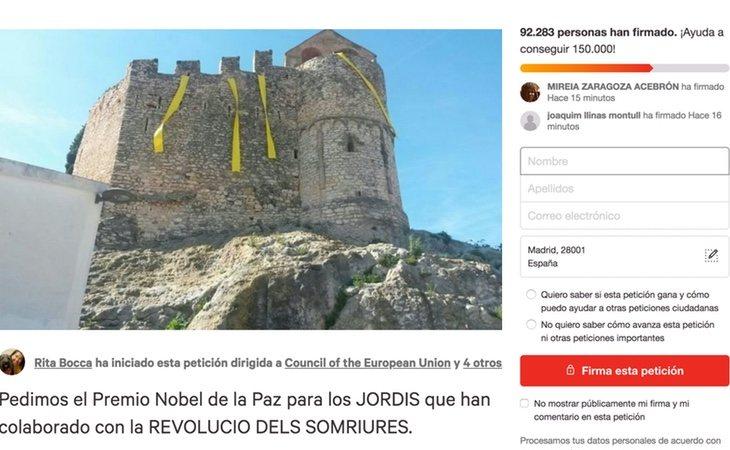 Petición para que 'Los Jordis' sean Premio Nobel de la Paz