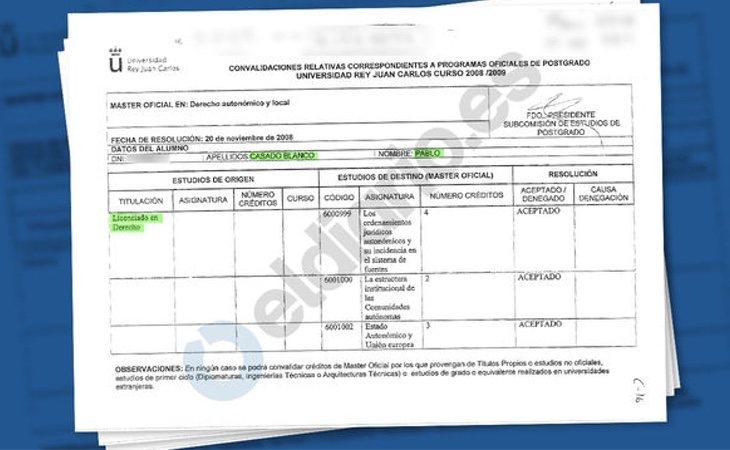 Documentos del máster de Casado. /Fuente: Eldiario.es