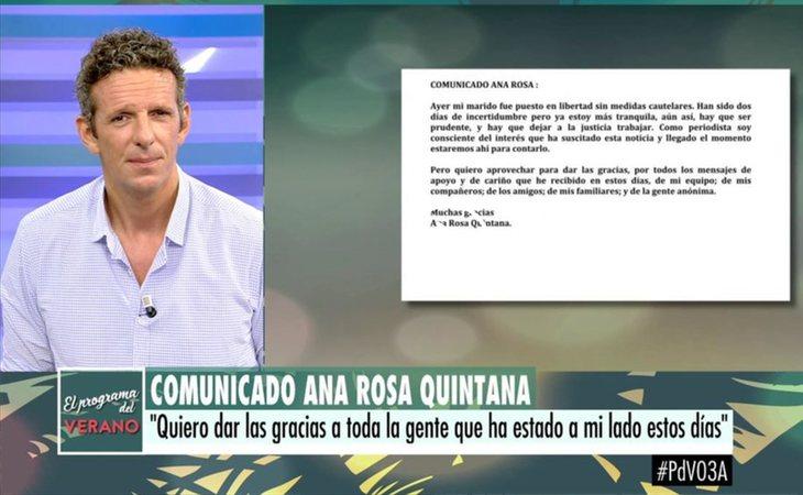 El comunidado de Ana Rosa Quintana en su programa