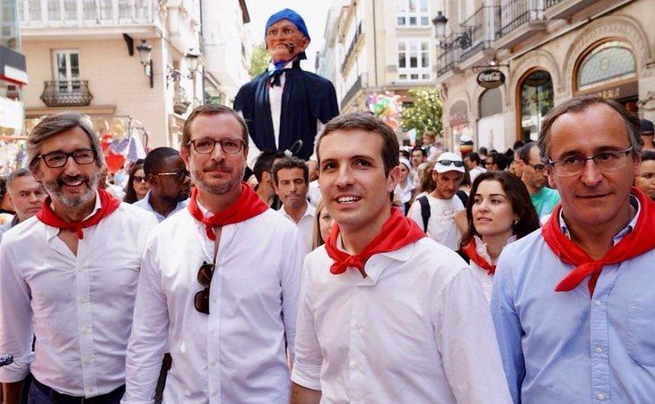 Pablo Casado en su visita a Vitoria junyo con Javier Maroto y Alfonso Alonso