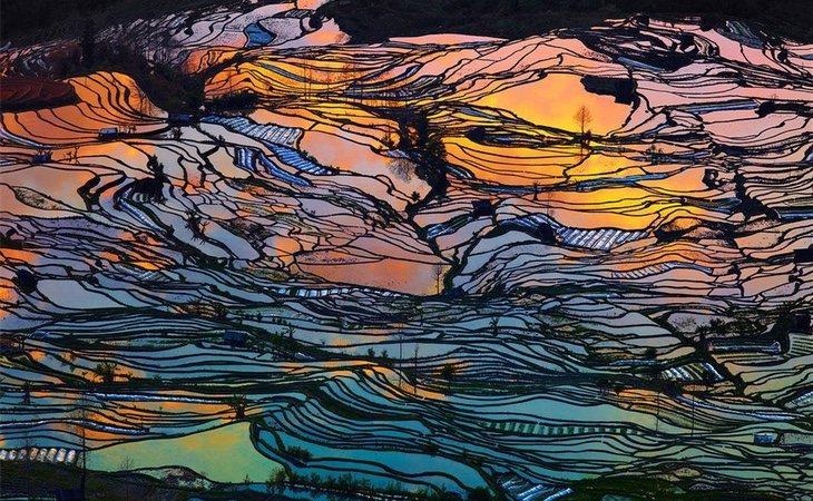 Algunas de las terrazas de arrozales en China (Pinterest)