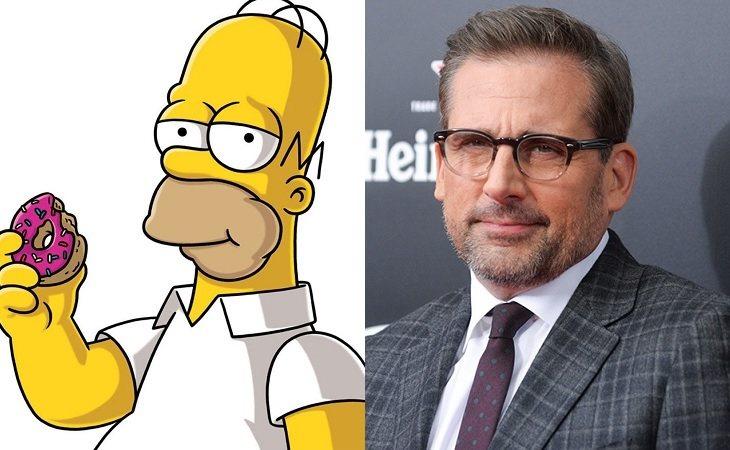 Homer Simpson y Steve Carell