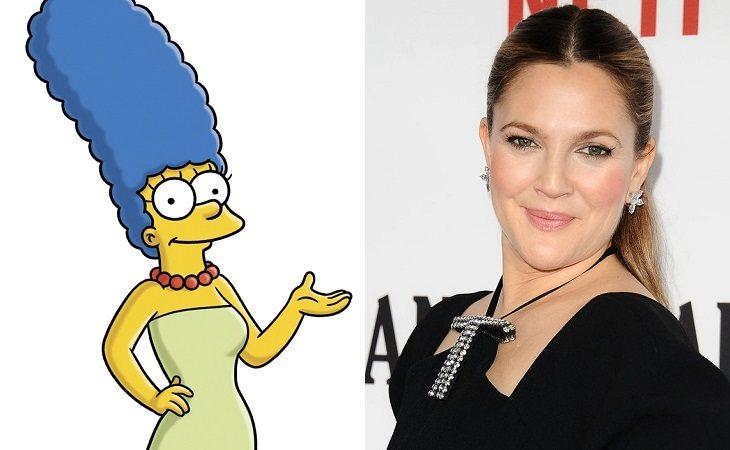 Marge Simpson y Drew Barrymore