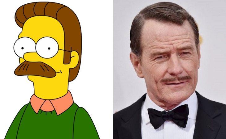Ned Flanders y Bryan Cranston