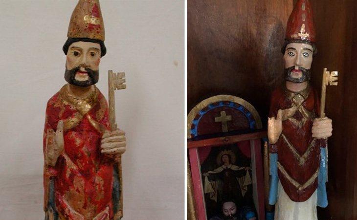 La talla de San Pedro restaurada en Rañadoiro